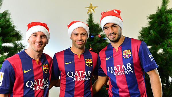 Barca Messi Et Suarez Vous Souhaitent Joyeux Noel Foot Espagnol